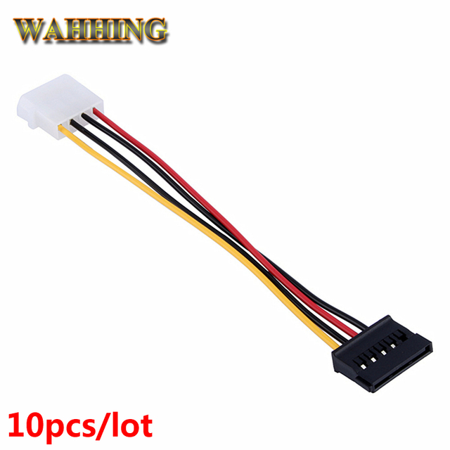 10pcs/lot 4 Pin IDE Molex to 15 Pin Serial ATA SATA Hard Drive Power Adapter Cable HDD Power Cable 20cm HY419