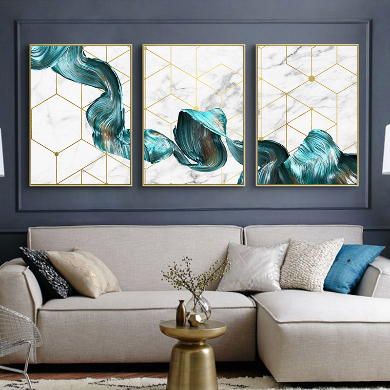 HTB1oSvsborrK1RkSne1q6ArVVXaE Nordic Geometric Wall Art Canvas Painting Abstract Blue Fabric Poster Print Modern Minimalist Picture for Living Room Home Decor