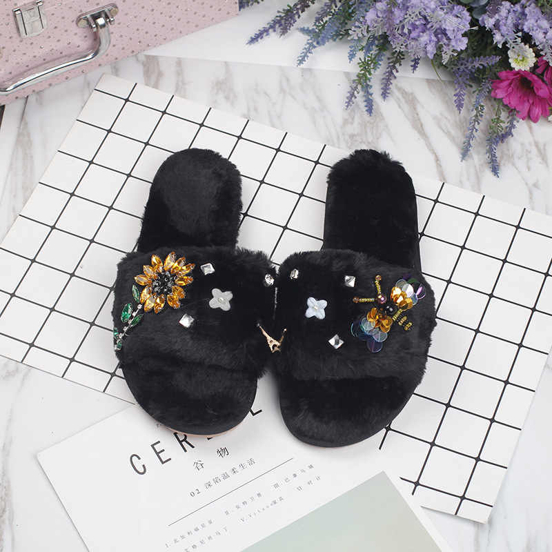 ce6e0bf9175c81 cute rhinestone sunflower fur sandals women cozy plush home slippers new  designer winter shoes woman fur