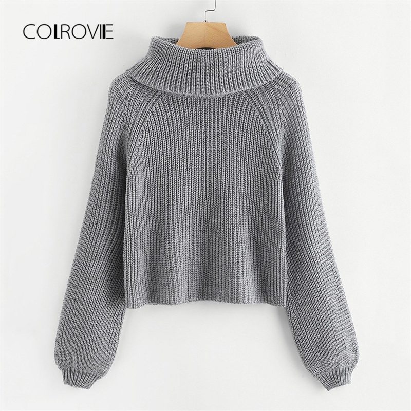 COLROVIE Maroon High Rolled Neck Bishop Knitted Sweater Girls Grey 2018 Winter Sweater Ladies Jumpers Pullover Women Sweaters