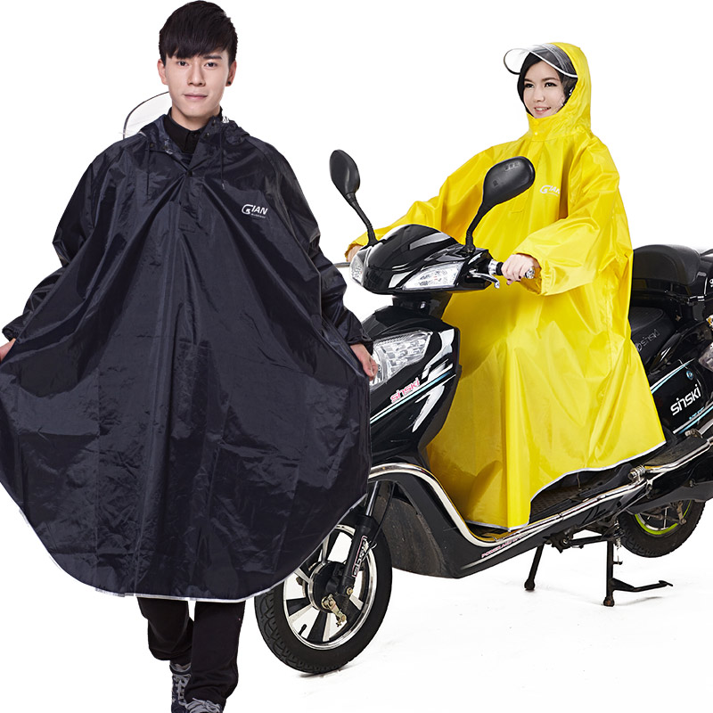 QIAN, Impermeable para hombre y mujer, Poncho de lluvia con manga para bicicleta eléctrica, capucha transparente Visable gruesa, Impermeable para lluvia