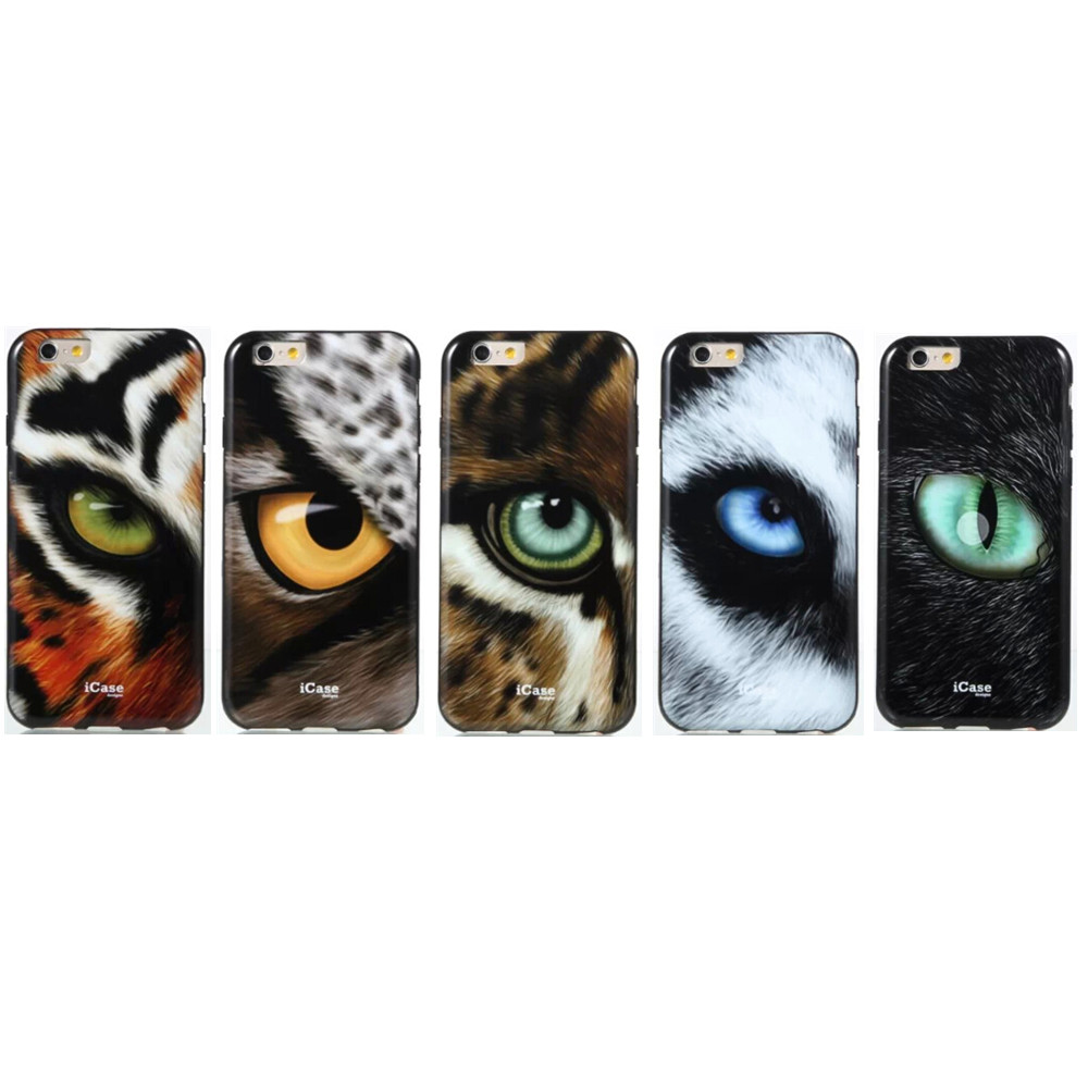Novel HD Soft TPU Silicon Wild Animals Tiger/Leopard/Wolf Eyes Case Cover For iPhone 6 6s ,Free Shipping