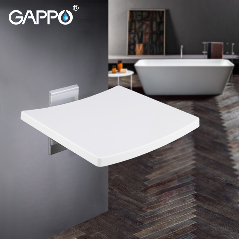 GAPPO Branco Fixado Na Parede Do Chuveiro Assento dobrável banco crianças higiênico Fezes Cadeira dobrável cadeiras de banho Banho de chuveiro cadeira de banho