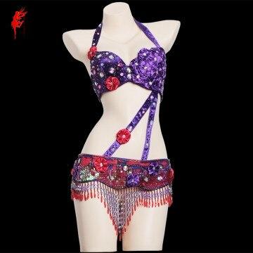 Handmade beads belly dance suit women belly dance performance bra suit girls belly dance clothes set