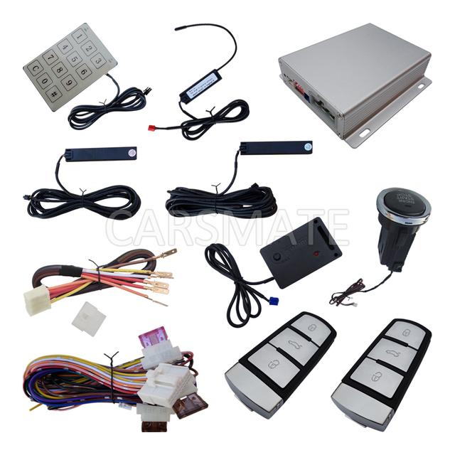 Chave inteligente PKE Sistema de Alarme de Carro Com Sensor de Choque Remoto Push Start Botão de Arranque Senha Do Teclado Janelas Perto De Saída