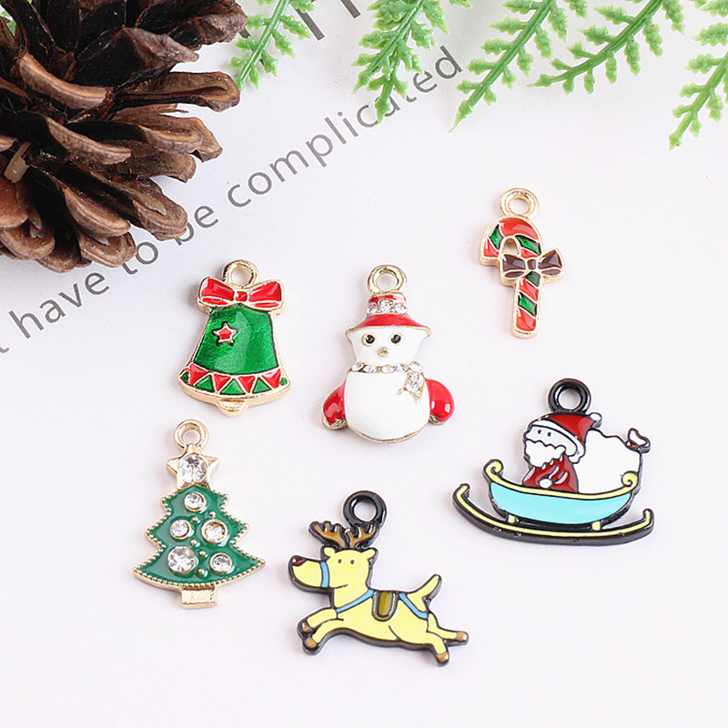 10pcs Merry Christmas Deer Tree Xmax Santa Claus Enamel Charms Pendant fit bracelet DIY Fashion Jewelry Accessories