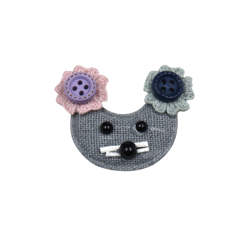 1PCS Lovely Gray Mouse Elastic Hair Bands Girls Ribbon Clips Bows Girl Hair Tie Knot Hairpin Handmade Fashion Hair Accessories
