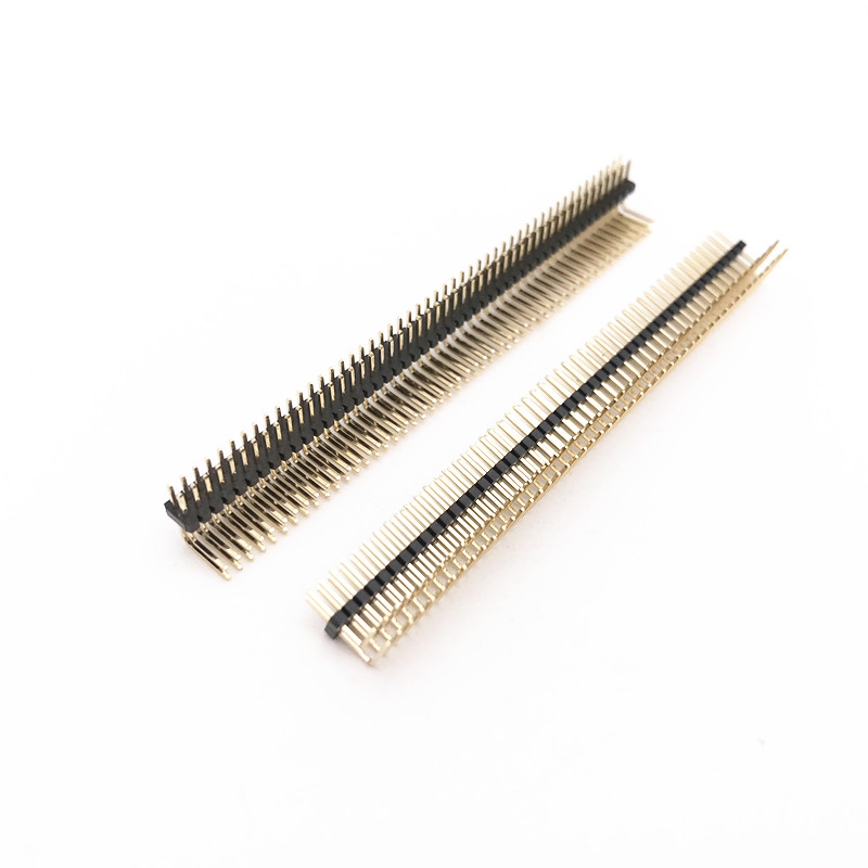 20Pcs Gold Plated Pitch 1.27mm 2x50 Pin 100 Pin Double Row Right Angle Male Pin Header Strip Connector