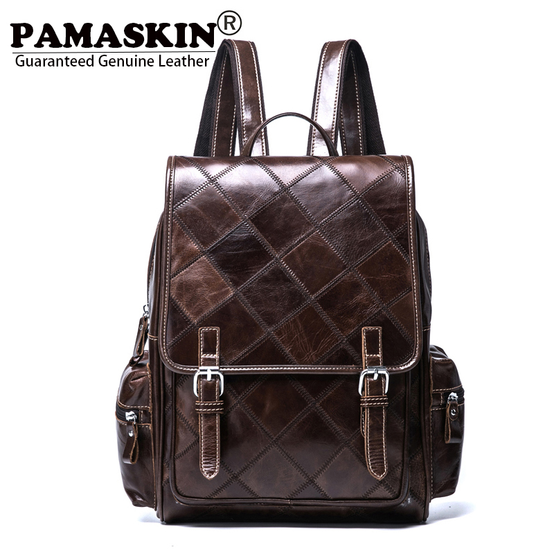 PAMASKIN 2018 New Arrivals Brand Classic Women Backpacks Luxurious Import Genuine Leather Fashion Patchwork Plaid Female Bags 2017 classic fashion new women backpacks