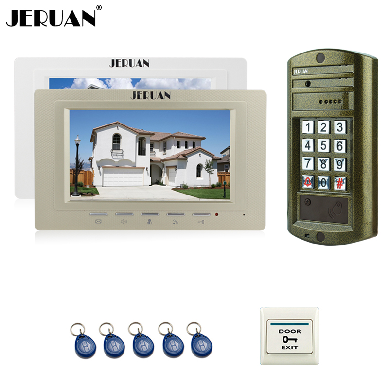 JERUAN 7`` Video Door Phone Speaker Dorbell Intercom System kit 2 Monitor + Metal Waterproof Access Password HD Mini Camera 1V2 jeruan home 7 inch video door phone intercom system kit new metal waterproof access password keypad hd mini camera 2 monitor