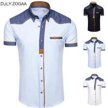ZOGAA, мужские рубашки, модные, джинсовые, короткий рукав, формальные рубашки, мужские, повседневные, летняя одежда, топы, тонкий хлопок, размера плюс, мужские рубашки