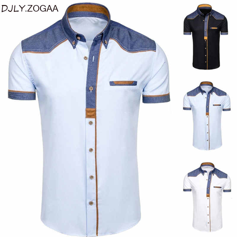 ZOGAA Men's Shirts Fashion Denim Short Sleeve Formal Shirts Man Casual Summer Clothing Tops Slim Cotton Plus Size Male Shirts