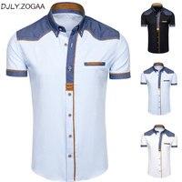 Мужские рубашки модные джинсовые рубашки с коротким рукавом деловая мужская повседневная Летняя одежда топы бренд тонкий хлопок размер пл...
