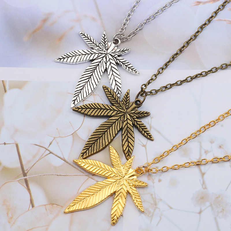 Dropshipping Mode Maple Leaf Halskette Hanf Blatt Anhänger Charme Kette Halskette Für Frauen Männer Gifls Schmuck Zubehör