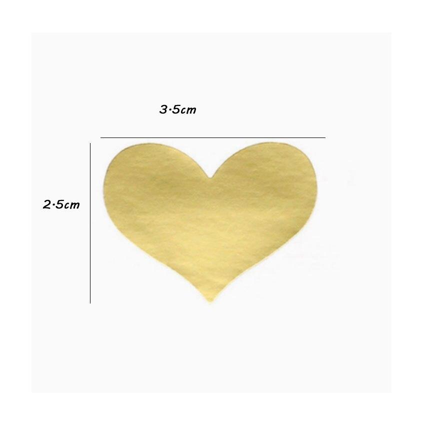Купить с кэшбэком 120pcs/lot Lovely Golden Heart Handmade Adhesive Kraft Seal Sticker DIY Product Baking Gift Package Decoration Label Stickers