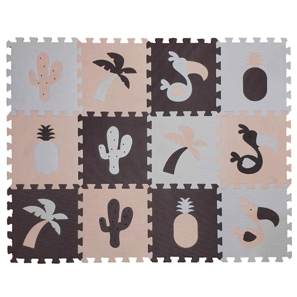 Meitoku EVA 12 adet çocuk Oyun bulmaca matı Köpük, Hindistan Cevizi ağacı Flamingo Aktivite Birbirine zemin halısı Karoları Her: 32x32 cm