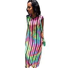 цены на Sexy round neck striped side pocket loose dress club party nightclub dress 2019 summer new dress  в интернет-магазинах