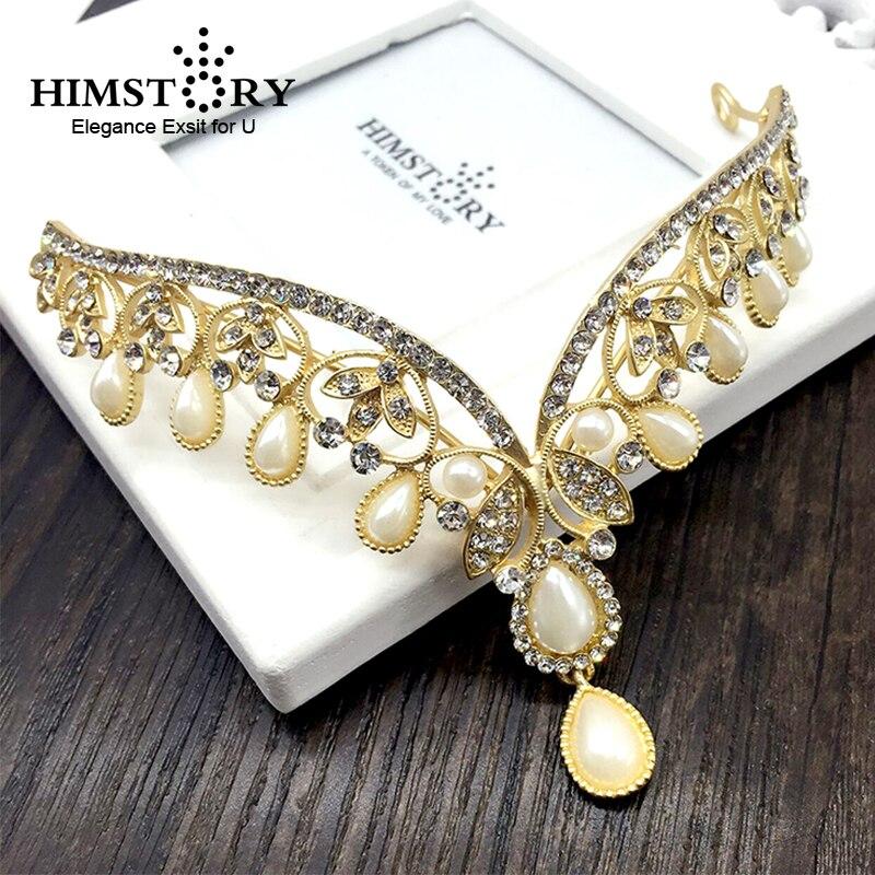 Indian Wedding Headdress: HIMSTORY Pearl Rhinestone Headpiece Indian Designs