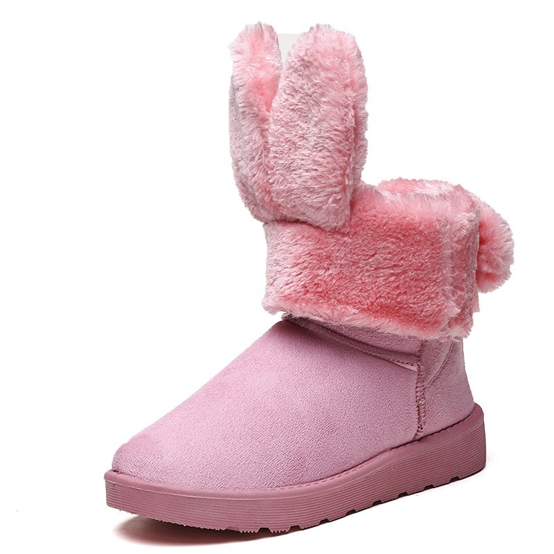 2017 Lady Shoes Winter Flat Heel Women Round Toe Ankle Boots Casual Cute Pink Rabbit Ear Fashion Women Extreme Warm Snow Boots