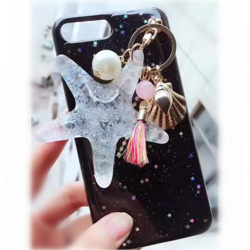 For iPhone 6 6S 7 8 Plus X For Samsung S8 S9 Note8 Luxury Cute Girls Black glitter Phone case Star Ornaments soft back cover