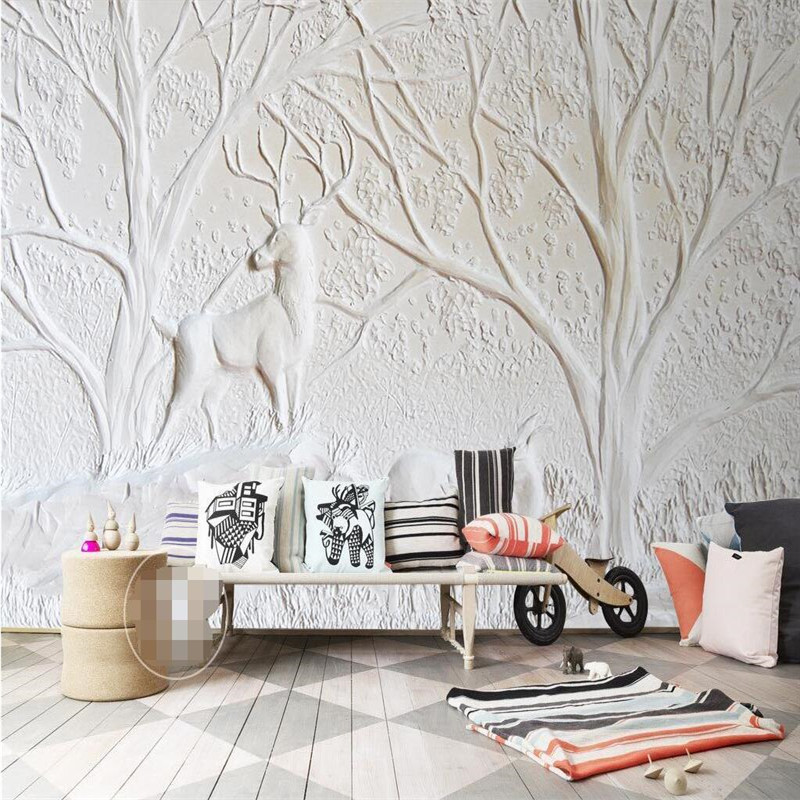 Wallpaper 3D White Relief Wall Deer Tree Recreation