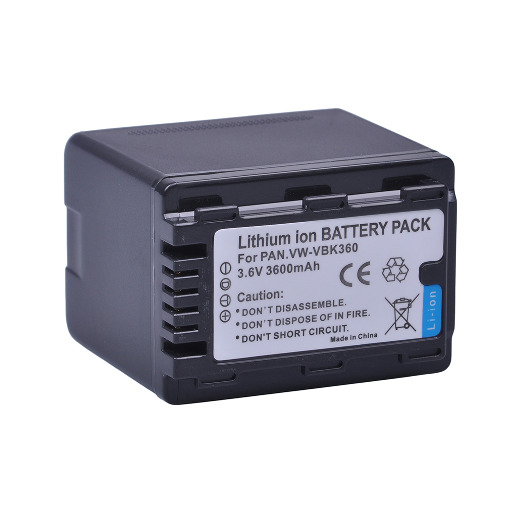 1X3600mAH VW-VBK360 VW VBK360 VWVBK360 Camera Battery For Panasonic HDC-HS80 SD40 SD60 SD80 SDX1 SDR-H100 H85 H95 HS60 HS80 TM60