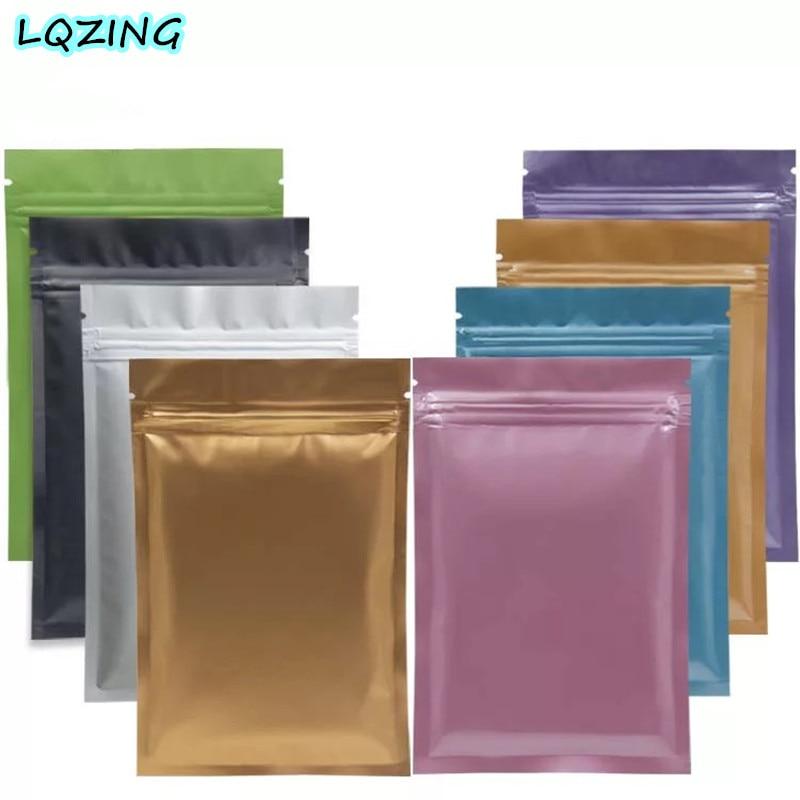 Flat Metallic Mylar Zip Lock Aluminum Foil Bags Retail Package Resealable Pouch