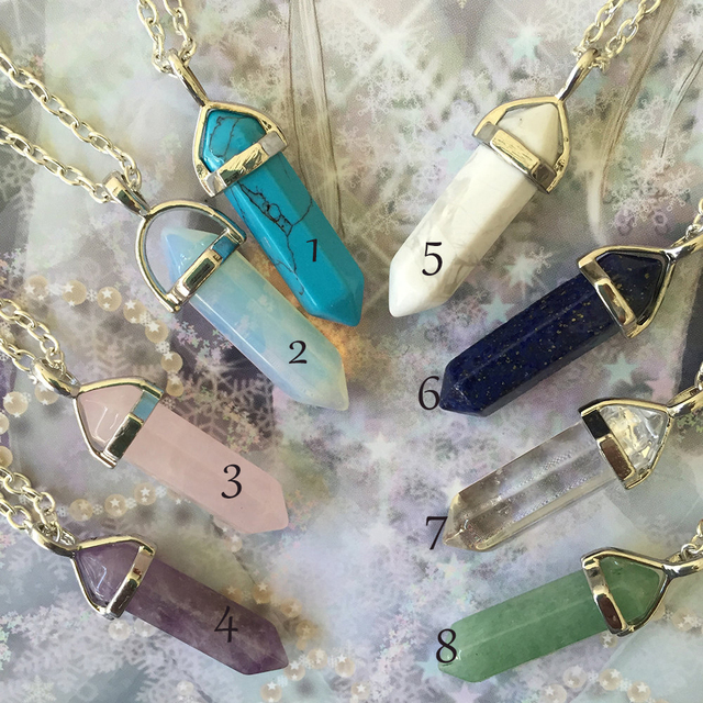 Crystal Pendant Necklaces Opalite White Howlite Lapis Clear Quartz Crystal Avent