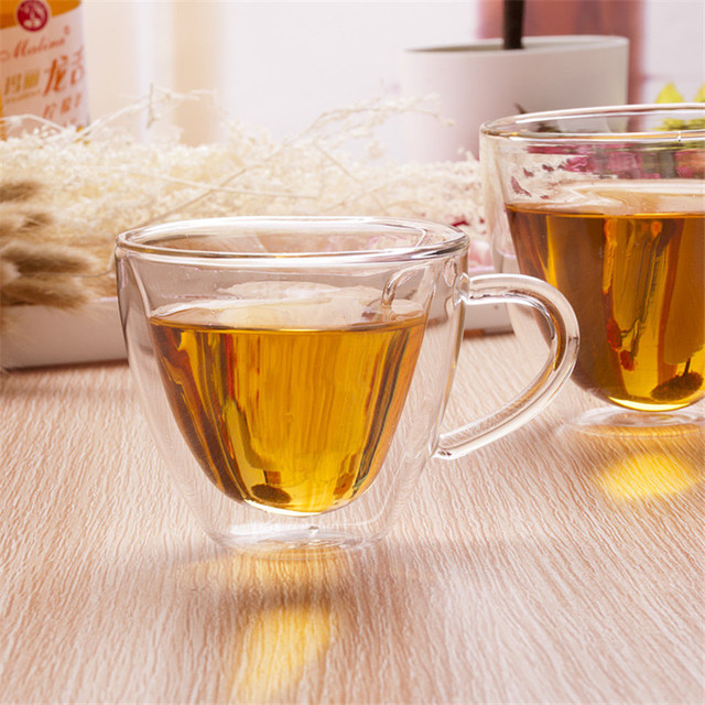Heart Love Shaped Double Wall Glass Mug Resistant Kungfu Tea Mug Milk Lemon Juice Cup Drinkware Lover Coffee Cups Mug Gift 2