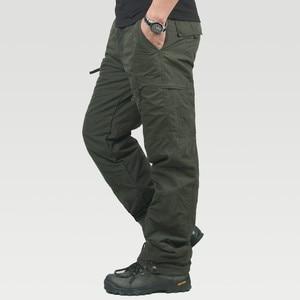 Image 3 - Marka Plus size męskie spodnie bojówki grube ocieplane spodnie zimowe pełnej długości kilka kieszeni dorywczo wojskowe taktyczne spodnie