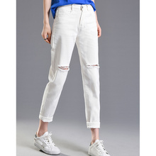 JUJULAND Fashion Ripped Jeans Woman High Waist Boyfriend For Women Plus Size Black White Denim Pants Trousers 339