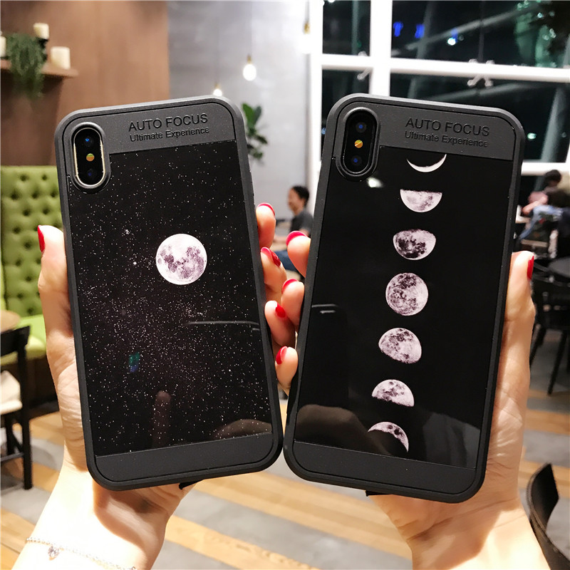 BROTOLA Lunar Eclipse Back Cover For iphone X Case TPU Soft Smooth Cartoon Phone Cases With Dust Plug For iphoneX Capa Coque