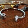 Pulseira de aço inoxidável 316l para homens preto prata cuff pulseiras pulseiras de punho de ouro titanium aço punk jóias pulseira de energia