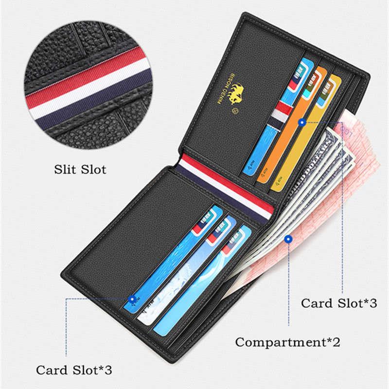 Мужское портмоне двойного сложения BISON DENIM, черный модный бумажник из 100% воловьей кожи со слотами для карт, короткий стандартный кошелек высокого качества, 2019