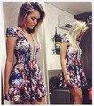 O-cuello atractivo rebordear flor de impresión vestidos de las mujeres adelgazan el mini vestidos de fiesta informal vestidos de cintura alta de verano slae caliente envío gratis