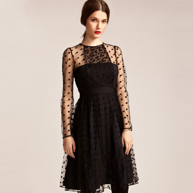 4d28da637403 Black long sleeve mesh skater dresses women vintage see through pleated  dressesladies high waisted podka midi OL work dresses