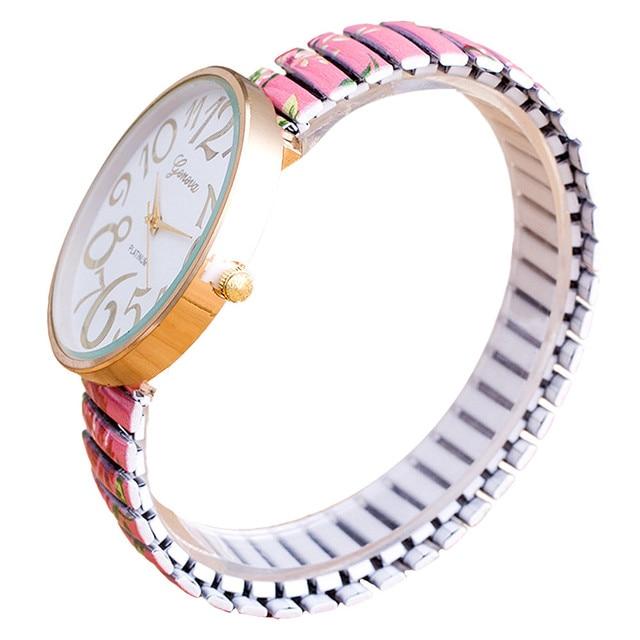 Gofuly Women Beautiful Flowers Print Design Luxury Elasticity Shrink Bracelet Quartz Wrist Watch Relogio Feminino Montre Femme