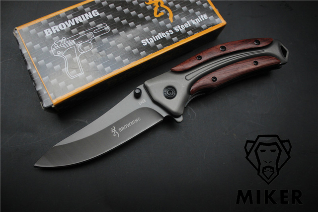 MIKER Browning DA58 Tactical Folding Knife Steel Blade Wood Handle Titanium Pocket Survival Knives Huntting Fishing EDC Tool