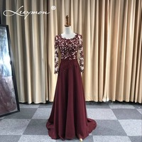 Elegant Wine Red A Line Floor Length Lace Appliques Beaded Mother of the Bride Dresses Mothers Dress