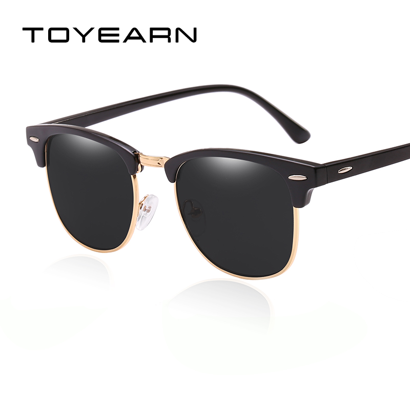 Famous Brand Classic Club Men Square Sunglasses Women Vintage Mirror Shades Rivet Half Frame Sun Glasses for Female Male UV400