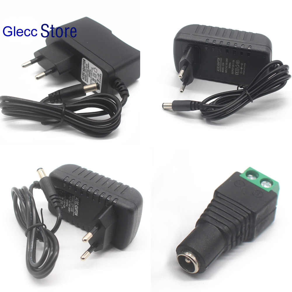 EU Plug AC 100-240V To DC 12V 1A 2A 3A 12W 24W 36W Power Supply Adapter Cord for LED Strip light / with connector