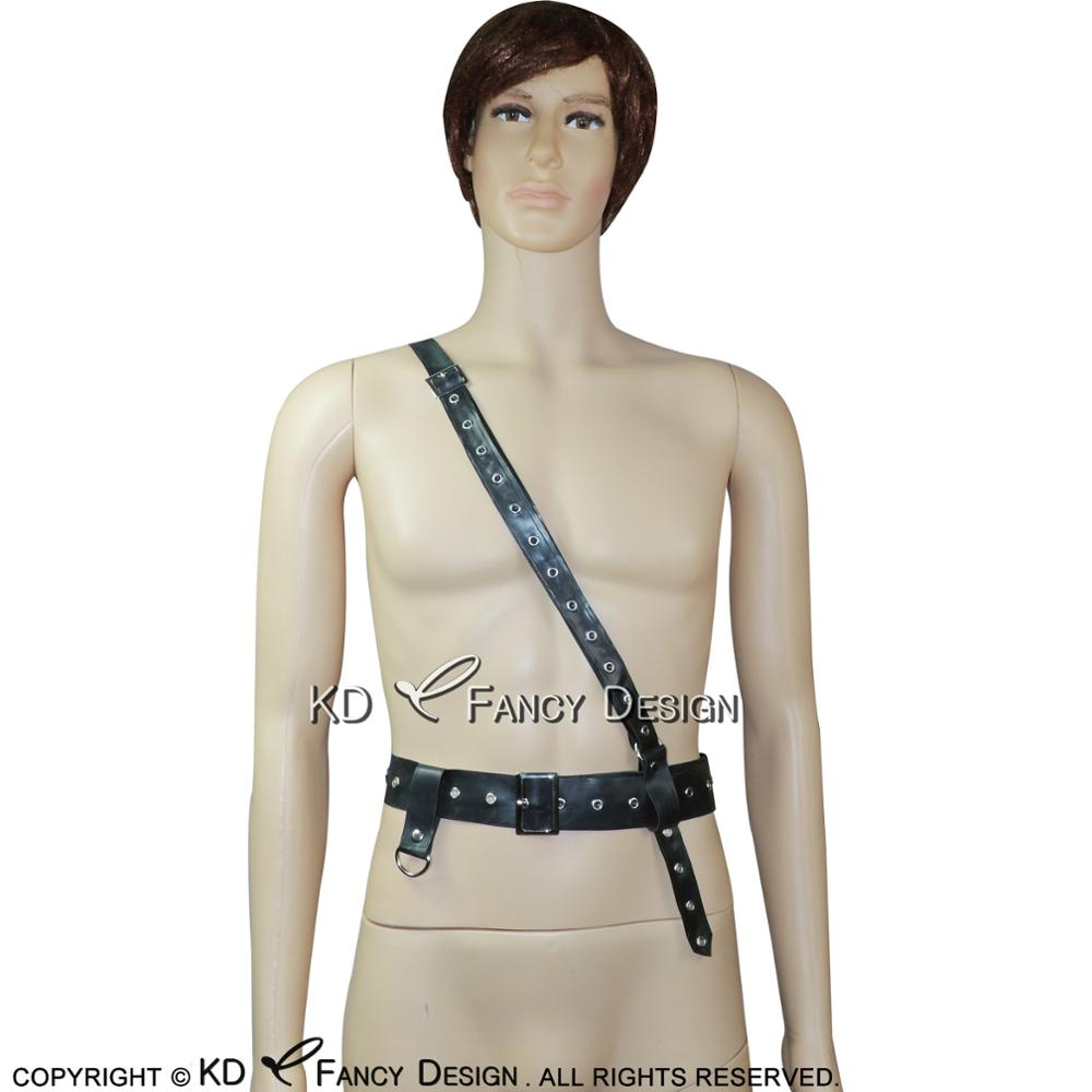 Black Sexy Military Sam Browne Belt Rubber Belts SEX-0045