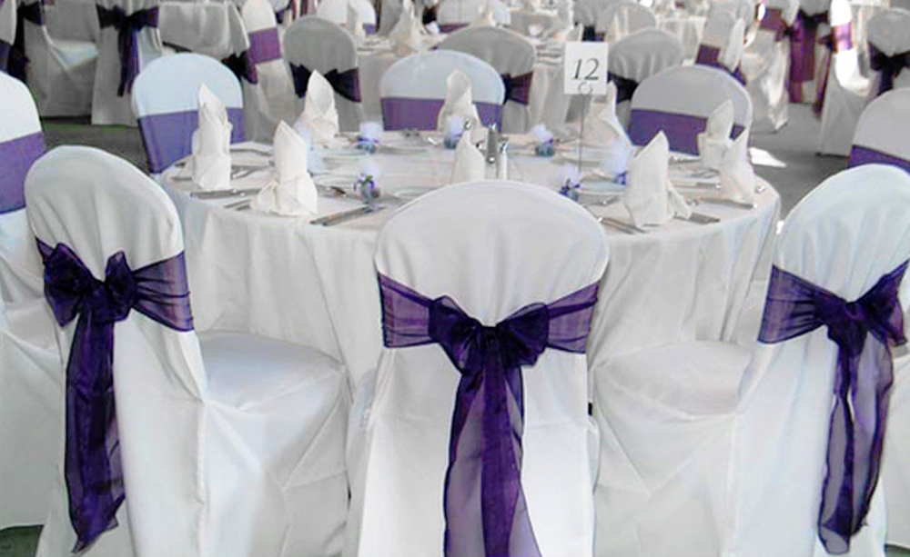 Free Shipping 50 PCS Dark Purple Wedding Organza Chair Cover Sashes Sash Party Banquet Decor Bow Hot In DIY Decorations From Home Garden On