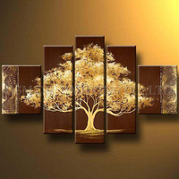 Excellent Artist Handmade High Quality Abstract Gold Oil Painting on Canvas Beautiful Abstract Golden Tree Oil Painting for Wall