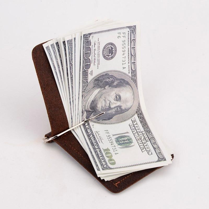 Új érkezés őrült ló bőr pénz klipek valódi bőr 2 hajtogatott nyitott bilincs a pénz érme zseb TW2306-1