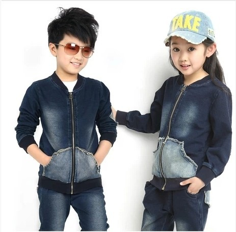 Free shipping Children's clothing spring/autumn girl/boy 100% cotton sports jacket+pants unisex denim suit free shipping children clothing spring girl three dimensional embroidery 100% cotton suit long sleeve t shirt pants