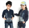 Free shipping Children's clothing spring/autumn girl/boy 100% cotton sports jacket+pants unisex denim suit