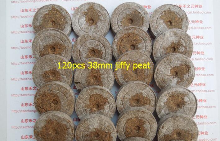 120pcs 38mm Jiffy Peat Pellets Seeds Starting Plugs Nursery tray Pots Flower Pots Planters Seedlings Early