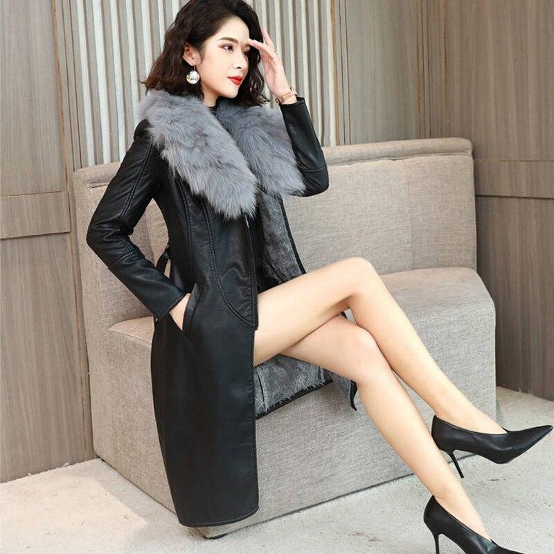 ALABIFU PU Leather Faux Fur Women Long Coat 2019 Casual Plus Size 4XL Slim Coat Black Faux Fur Collar Jacket Coat Casaco