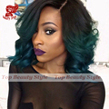 Body Wave Short Bob Wig Ombre Color Black To Green Heat Resistant Hair Wigs Synthetic Lace Front Wigs For Black Women